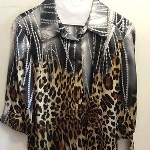 New**Satin Leopard/Grey Blouse